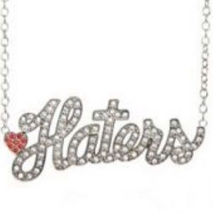 Rock Rebel Silver Iced Haters Bling Necklace